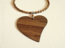 Large wooden heart choker
